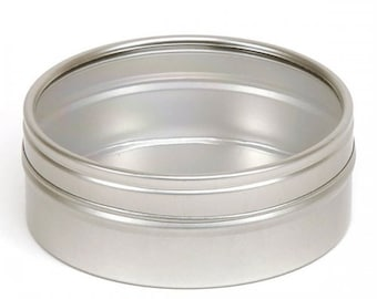 12 oz Silver Windowed Round Tin Cans clear window  storage jar candle candy 4 3/8 X 1 5/8
