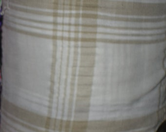 """stripe squares white beige linen  light weight by the yard 50"""" wide"""