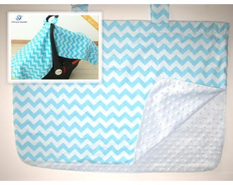SALE! chevron minky Baby Car Seat Canopy cover girl boy shower gift blue