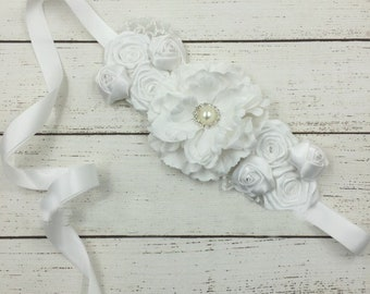 Women child baby satin flowers wedding dress flower girl comunion birthday baptism sash belt white