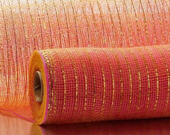 "hot pink Gold Thread Metallic 21"" Deco Mesh 10 yards floral decor wreath"