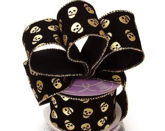 "2-1/2"" X 10Yd Black W/Golden Skulls Wired Ribbon  decor SEWING craft bolt yards scrapbook Halloween"
