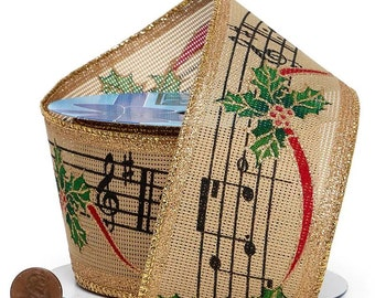 """2.5""""  Christmas Music Print On Natural Wired Ribbon On Wired Ribbon wired ribbon craft scrapbook decor favors  gift bow"""