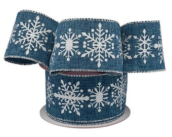"""2.5"""" 10 yards Snowflakes Christmas Wired Ribbon Silver / Blue faux denim Linen gift wrap bow decor"""