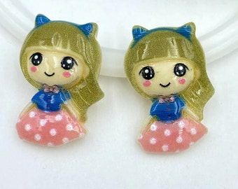 """2 pcs lot mini girl princess Charms 3D Resin Pendants Earring Fashion Jewelry diy Crafts charms slime cell phone 3/4"""""""
