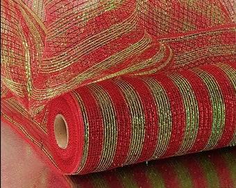 "Stripe Half-Solid Metallic 21"" red green Deco Mesh floral decor Christmas wreath"