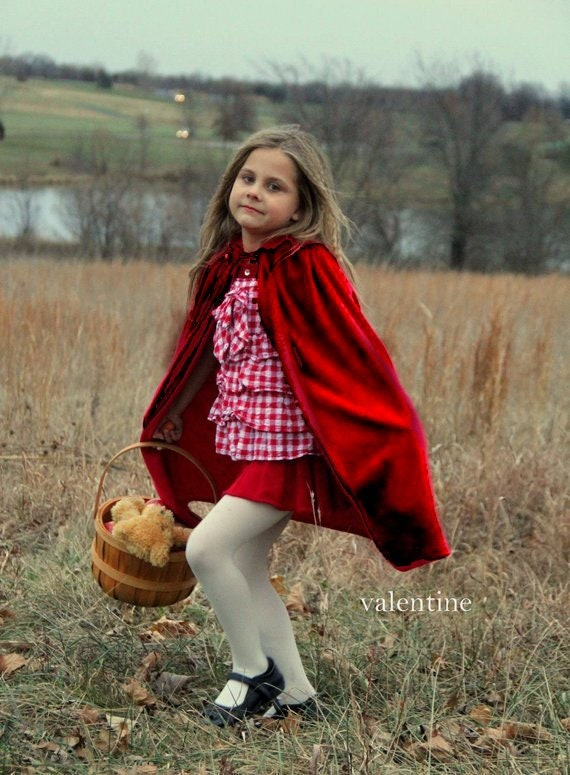 New hooded princess snow white Little Red riding hood Inspired Costume  soft cape girl toddler 3-6 years dress up satin cape