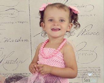 "new Girls girl baby child 7 Inch lined Crochet tutu top tube 1-3 years DIY flower girl wedding dress birthday  7"" pink"