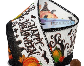 """2.5""""  Spooky """"Happy Halloween"""" Wired Ribbon On Wired Ribbon wired ribbon craft scrapbook decor favors Thanksgiving gift bow"""