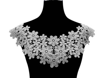 embroidery flower lace collar dress gown Fabric Sewing Applique DIY patches ribbon trim neckline ivory