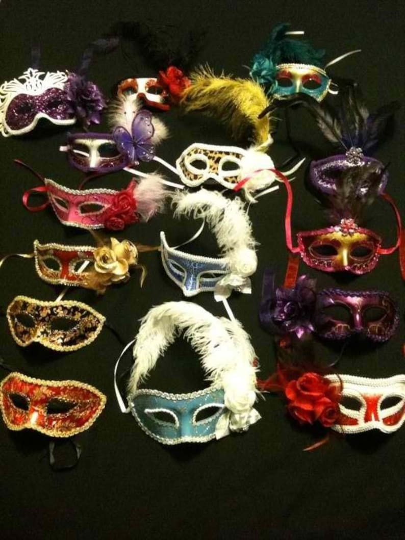 Lot 75 party mask costume venetian masquerade Mardi Gras Feather Wedding Quince