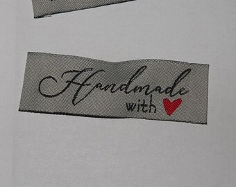 50 Handmade with love woven label tag clothes fabric crafts craft scrapbooking scrapbook papercrafts sew on heart labels embroided