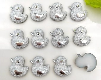 50 pcs duck silver Cute party favor flatback  charm cabochons For Hair Bow Centers DIY Scrapbooking Decor Crafts charms slime baby shower