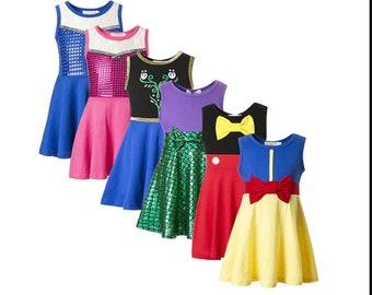 child princess snow ariel Halloween costume inspired  dress 2 - 8 yrs