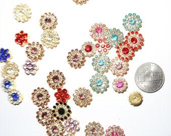 35 pc mixed random Embellishment Centers Bling Metal Rhinestone Gold Crystal cabochon, bulk, charms  assorted colors, flatback, scrapbook