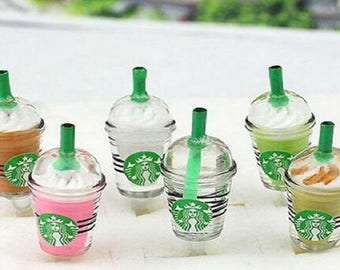 Starbucks coffee frappuccino inspired  party favors gifts charm for slime cabochons