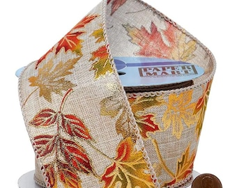 """2.5""""  Metallic Leaves On Faux Linen On Wired Ribbon wired ribbon craft scrapbook decor favors Thanksgiving gift bow"""