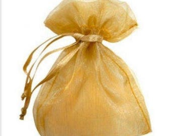 """new 100 pieces 2"""" x 3"""" MINI Organza Bags Party Favor Gifts wedding pouches jewerly candy gold 100"""