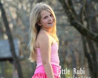 "new Girls girl child 12 Inch lined Crochet tutu top tube 8-12 years DIY flower girl wedding dress birthday summer 12"" Pink"