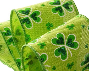 """St Pstricks Shamrock NATURAL RIBBON wired with glitter by the yard 2-1/2"""""""