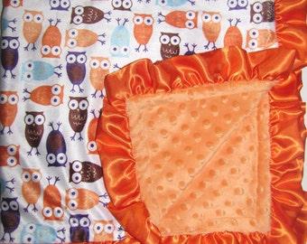 "New Baby nursery receiving blanket girl boy shower gift 30"" baby or 40"" toddler satin ruffle edge minky orange owls"