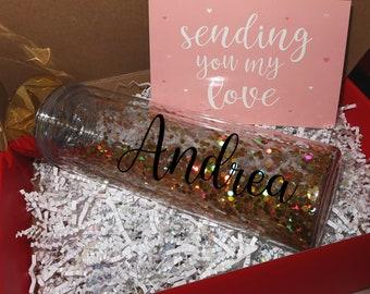 personalized glitter water bottle cup Birthday gift Girl accessories cute tween teen friend girl bridesmaid Valentines