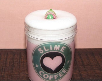 Strawberry cream starbucks frappuccino inspired slime with charm