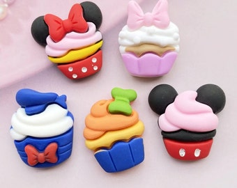 10 pcs  Cute cupcake mouse ears party favor flatback  charm cabochons For Hair Bow Centers DIY Scrapbooking Decor Crafts charms slime