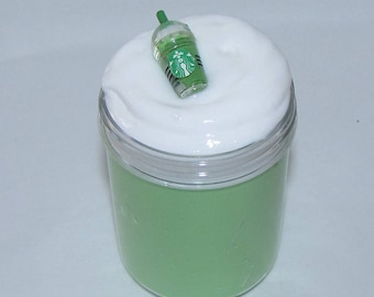 Green Tea Creme Frappuccino starbucks inspired slime party favors stress relief charm included chocolate mint scented