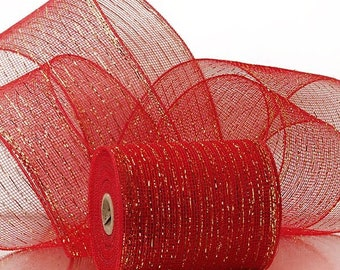 """red gold Metallic 6"""" Deco Mesh 20 yards Valentines Holiday floral decor"""
