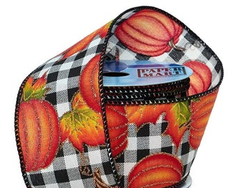 """2.5""""  Pumpkins On Gingham Wired Ribbon On Wired Ribbon wired ribbon craft scrapbook decor favors Thanksgiving gift bow"""