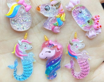 6 pcs lot mini glitter unicorn candy mermaid Charms 3D Resin Pendants Earring Fashion Jewelry diy Crafts charms slime cell phone