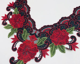embroidery flower lace collar dress gown Fabric Sewing Applique DIY patches ribbon trim neckline red roses