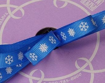 "3/8"" 25 yards blue snow flake Christmas ribbon"
