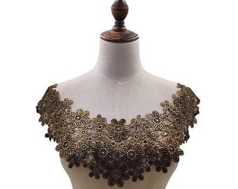 embroidery flower lace collar Fabric Sewing Applique DIY patches ribbon trim neckline black gold