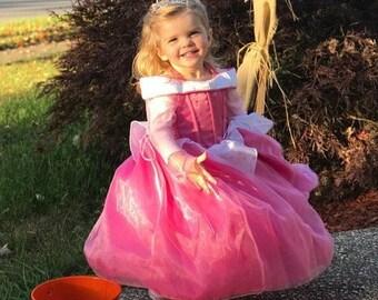 Aurora Inspired Costume Birthday girl toddler princess sleeping beauty dress size 2 4 6 8