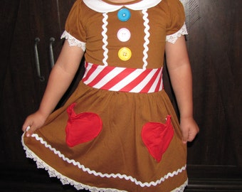 size 5/6 boutique Holiday Christmas girl ginger bread cookie Elf party dress ugly sweater costume school play pageant outfit