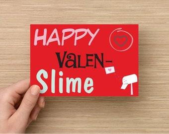 30 pieces slime Valentines love heart friendship cards St. Valentines postcards