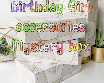 Birthday mystery box gift  Girl fashion and hair accessories slime squishies cute items +5 yrs tween