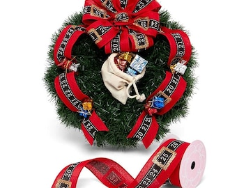 """2.5""""  Glitter Christmas Day Belt Print On Wired Ribbon craft scrapbook decor favors gift bow"""