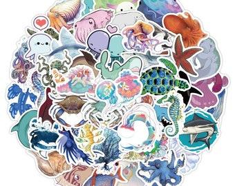 40 piece Vsco  Blue Sea Shark beach summer marine Sticker Waterproof DIY Laptop Room Scrapbooking Motto Graffiti Decal