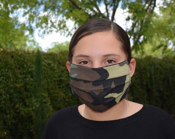face mask reusable cotton with filter pocket Adult  Camouflage 2 layers