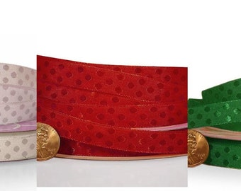 "3/8"" 25 yards green white red Glossy Polka Dot Satin Ribbon St. Patricks Christmas"