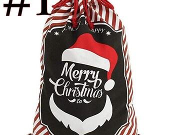 "Christmas Decor Santa Sack Personalized Canvas Burlap Bag Drawstring Extra Large Size 24"" gift bag"