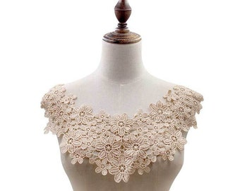 embroidery flower lace collar Fabric Sewing Applique DIY patches ribbon trim neckline