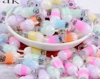 10 pcs lot mini boba  ice cream frappe smoothie Charms 3D Resin Drink Pendants Earring Fashion Jewelry diy Crafts charms slime