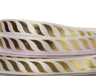 """3/8"""" 25 yards white gold striped"""