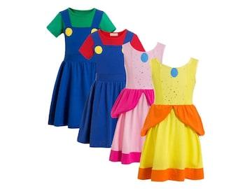 child Luigi and Mario Brothers Halloween costume inspired  dress princess girl child toddler 2 - 10