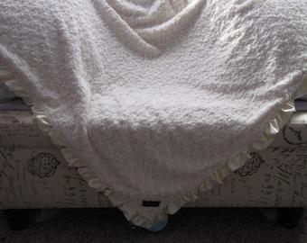 "New Baby Toddler nursery receiving bed blanket girl boy shower gift 50"" satin ruffle edge beige rose fur XL"