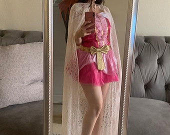 Long Medieval cape blush pink lace hooded Cloak Fairy Fantasy Princess Wizard witch renaissance costume Women